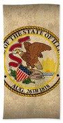 Illinois State Flag Art On Worn Canvas Beach Towel