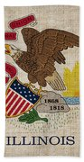Illinois State Flag Beach Towel by Pixel Chimp