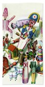 Illustration Of A Group Of Children's Toys Beach Towel