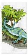 Illustration Of An Iguanodon Sunbathing Beach Towel