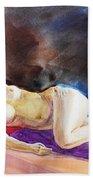 Impressionism Of Reclining Nude Beach Towel
