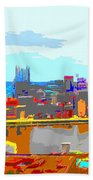 Impressionist Pittsburgh Across The River 2 Beach Towel