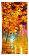 Improvisation Of Trees - Palette Knife Oil Painting On Canvas By Leonid Afremov Beach Towel