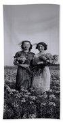 In A Field Of Flowers Vintage Photo Beach Towel