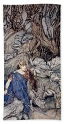 In The Forked Glen Into Which He Slipped At Night-fall He Was Surrounded By Giant Toads Beach Towel by Arthur Rackham
