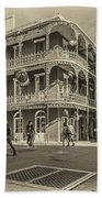 In The French Quarter Sepia Beach Towel
