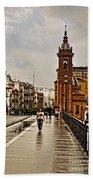 In The Rain - Puente De Triana Beach Towel