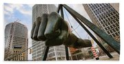 In Your Face -  Joe Louis Fist Statue - Detroit Michigan Beach Towel