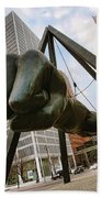 In Your Face -  Joe Louis Fist Statue - Detroit Michigan Beach Towel by Gordon Dean II