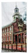 Independence Hall From Chestnut Street Beach Towel