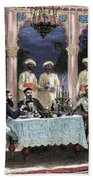 India  British Colonial Era  Banquet At The Palace Of Rais In Mynere Beach Towel