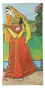 Indian Lady Playing Ancient Musical Instrument Beach Towel