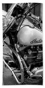 Indian Motorcycle In French Quarter-bw Beach Towel