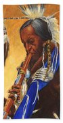 Indian Playing Flute Beach Towel