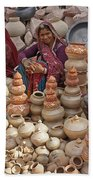 Indian Women Selling Pottery Beach Towel