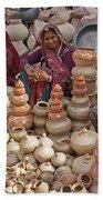Indian Women Selling Pottery Beach Sheet