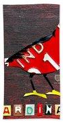 Indiana Cardinal Bird Recycled Vintage License Plate Art Beach Towel