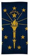 Indiana State Flag Art On Worn Canvas Beach Towel