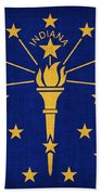 Indiana State Flag Beach Towel by Pixel Chimp