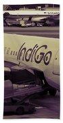 Indigo Aircraft Getting Ready In Changi Airport Beach Towel