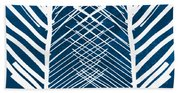 Indigo And White Leaves- Abstract Art Beach Towel