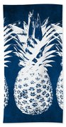 Indigo And White Pineapples Beach Towel by Linda Woods