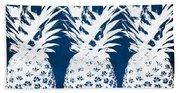 Indigo And White Pineapples Beach Towel