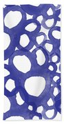 Indigo Bubbles- Contemporary Absrtract Watercolor Beach Towel by Linda Woods