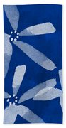 Indigo Flowers Beach Towel by Linda Woods