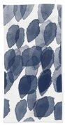 Indigo Rain- Abstract Blue And White Painting Beach Towel by Linda Woods