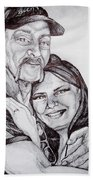 Ink Portrait Of My Father And I Beach Towel