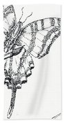 Inked Swallowtail Beach Towel