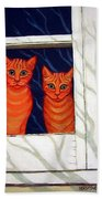 Orange Cats Looking Out Window Beach Towel