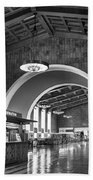 Inside Los Angeles Union Station In Black And White Beach Towel