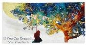 Inspirational Art - You Can Do It - Sharon Cummings Beach Sheet