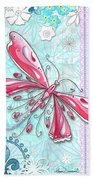 Inspirational Dragonfly Floral Fleur De Lis Art Sweet Charity By Megan Duncanson Beach Towel