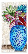 Inspirational Floral Dragonfly Painting Flower Vase With Quote By Megan Duncanson Beach Towel
