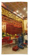 Interior Of Thien Hau Temple A Taoist Temple In Chinatown Of Los Angeles Beach Towel