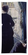 Interior Woman At The Window Beach Towel by Gustave Caillebotte