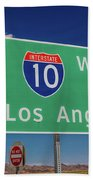 Interstate 10 Highway Signs Beach Towel