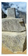 Inti Watana Stone Calendar At Machu Picchu Beach Towel