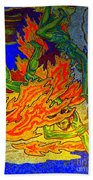 Into The Flames Of Hell Beach Towel