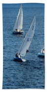 Into The Wind - Crisp White Sails On Blue Beach Towel