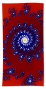 Intricate Red Blue Fractal Based On Julia Set Beach Towel