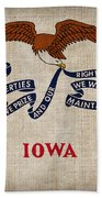 Iowa State Flag Beach Towel by Pixel Chimp