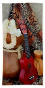 Ipu Heke And Red Ukulele With White Satin Lei Beach Towel