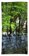 Ireland Stone Wall And Trees Beach Towel
