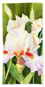 Iris Flower Dancing Petals Beach Towel