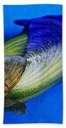 Iris On Blue Beach Towel
