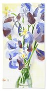 Irises Aglow Beach Towel by Kip DeVore